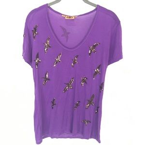 Tory Burch size S purple sparkly seagull t-shirt